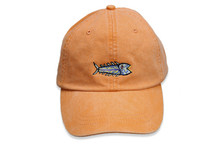 Hopkins Fish Embroidered Baseball Cap on Tangerine