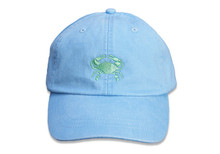 Crab Embroidered Baseball Cap on Light Blue