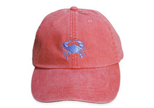 Crab Embroidered Baseball Cap on Coral