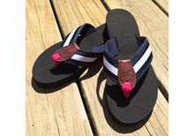 White and Navy Stripe Flip Flops