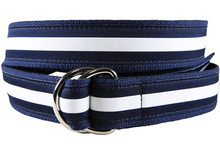 White Stripe Belt with Leather Tab