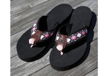 Argyle Pink and Black Flip Flops