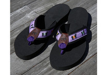 Belted Cow Flip Flops (Purple)