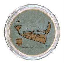 Nantucket Primitive Antique Map Decoupage Coaster