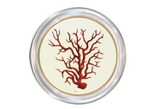 Red Coral Decoupage Coaster (B)
