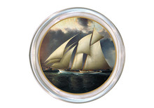 Three Boats Stormy Sky Decoupage Coaster