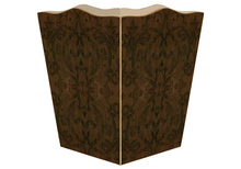 Brown Damask Wooden Decoupage Wastepaper Basket