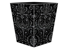 Black and Silver Wooden Decoupage Wastepaper Basket