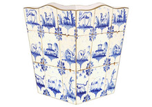 Animal Delft Tile Wooden Decoupage Wastepaper Basket