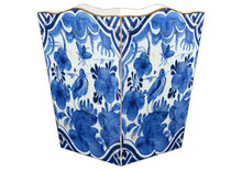 Blue Delft Bird Wooden Decoupage Wastepaper Basket