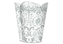 Silver and White Damask Tin Decoupage Wastepaper Basket
