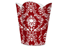Red and White Damask Tin Decoupage Wastepaper Basket