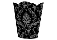 Black and Gray Damask Tin Decoupage Wastepaper Basket