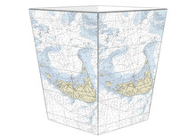 Nantucket Nautical Chart Decoupage Wastepaper Basket