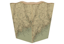 Antique Maine Coast Map Decoupage Wastepaper Basket