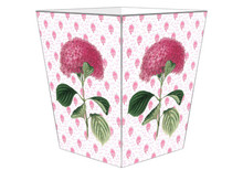 Pink Hydrangea on Provencal Print Wooden Decoupage Wastepaper Basket