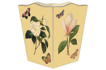 Magnolia and Peony on Butter Wooden Decoupage Wastepaper Basket