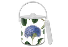 Blue Hydrangea on White Lucite Ice Bucket
