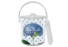 Blue Hydrangea on Provencal Print Lucite Ice Bucket