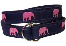 Pink Elephants Ladies Ribbon Belt
