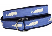 Whale Ribbon Ladies Belt in Storm Blue