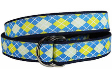 Argyle Ribbon Ladies Belt in Blue/Yellow