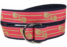 Lacrosse Sticks Ribbon Ladies Belt in Coral
