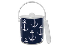 Navy Anchor Lucite Ice Bucket