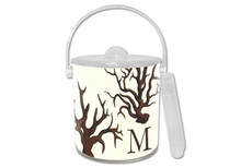 Brown Coral Lucite Ice Bucket