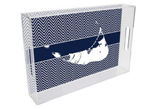 Nantucket Lucite Tray on Navy Chevron Print