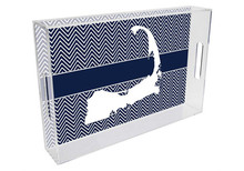 Cape Cod Lucite Tray on Navy Chevron Print