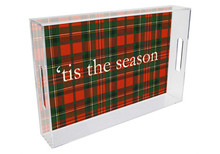 Red and Green Plaid Lucite Tray