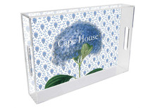 Blue Hydrangea on Provencial Print Lucite Tray