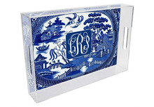 Blue Willow Lucite Tray