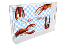 Crawfish on Gingham Personalized Lucite Tray
