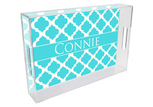 Chelsea Grande Lucite Tray in Turquoise