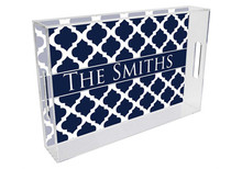 Chelsea Grande Lucite Tray in Navy Blue