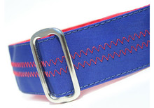 Sailcloth Dog Collar in Salty Nautical and Red
