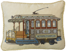 Trolley Car Needlepoint Pillow 1