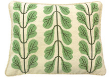 Leaf Boughs Needlepoint Pillow Green