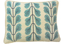 Leaf Boughs Needlepoint Pillow Blue