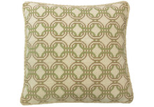 Locked Circles Needlepoint Pillow Green/Mustard
