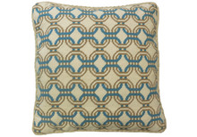 Locked Circles Needlepoint Pillow Teal/Mustard