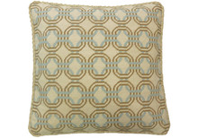 Locked Circles Needlepoint Pillow Blue/Mustard