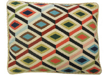 Diamonds Needlepoint Pillow Multi