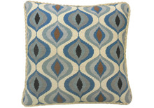 Flutter Needlepoint Pillow Blue