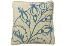 Big Leaf Needlepoint Pillow Blue