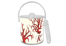 Coral Lucite Ice Bucket