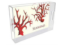 Coral Lucite Tray