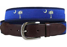 Palmetto Tree and Crescent Moon Belt (Leather Tab)